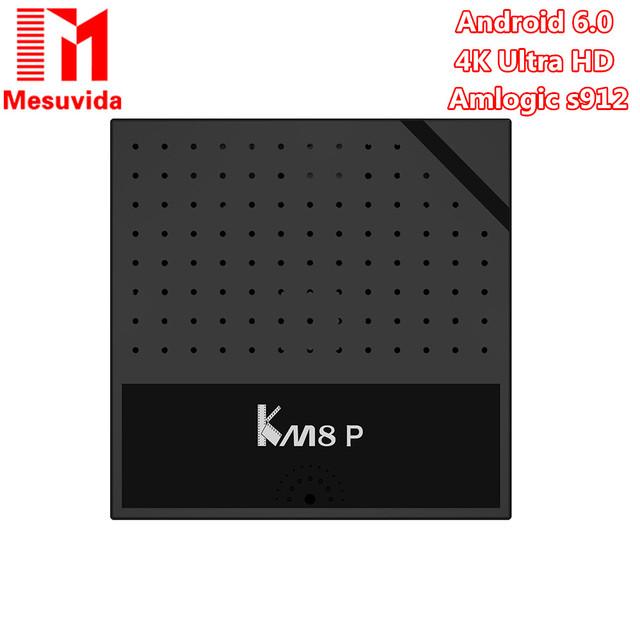 Mecool KM8 P S912 Amlogic Caixa de TV Android 6.0 2G RAM Núcleo octa 4 K Smart TV Box Media Player Set-top Box PK KM8 Pro X96 X92