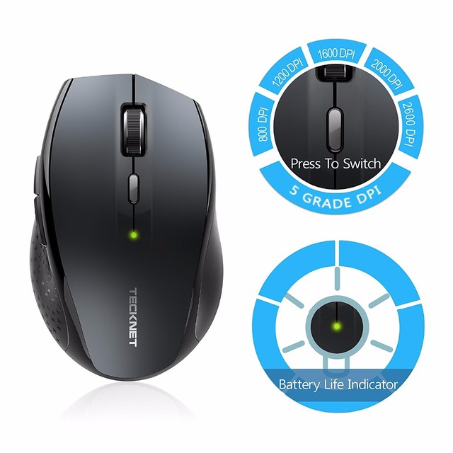 TeckNet Bluetooth Wireless Mouse 2.4g 2600/2000/1600/1200/800 DPI For Laptop Notebook PC Computer