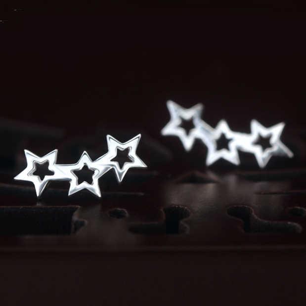 חתיכות מעוקלות MIESTILO קסם מדהים משולש כוכבים צמודים עכשווי עגילים אופנתיים תכשיטי כסף סטרלינג 925--Glaxy