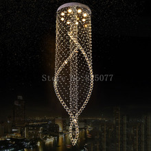 купить DHL Dia800*H3000mm super hotel K9 crystal chandeliers Led ceiling light villa spiral staircase crystal chandeliers JF1294 дешево