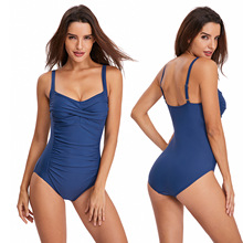 Open back sexy sports solid color swimsuit female sling one-piece swimsuit  Bikini Beachwear Bathing Suits