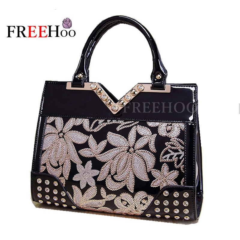New bags for women fashion bolsa feminina sequin embroidery Luxury patent pu leather famous brands design handbag women bags fashion bags for women 2018 sequin embroidery luxury patent leather brand designer handbag women messenger bag bolsa feminina