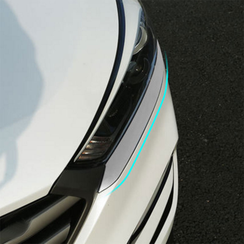 Color My Life ABS Silver Car Front Headlight Trim Cover Head Lights Sticker For Hyundai Tucson 2015 2016 2017 Accessories