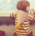2016 Outono Inverno Crianças Jaqueta Casaco Com Capuz de Crianças Grandes Chapéus Do Bebê Das Meninas do Menino Listrado Camisola Casaco Outwear