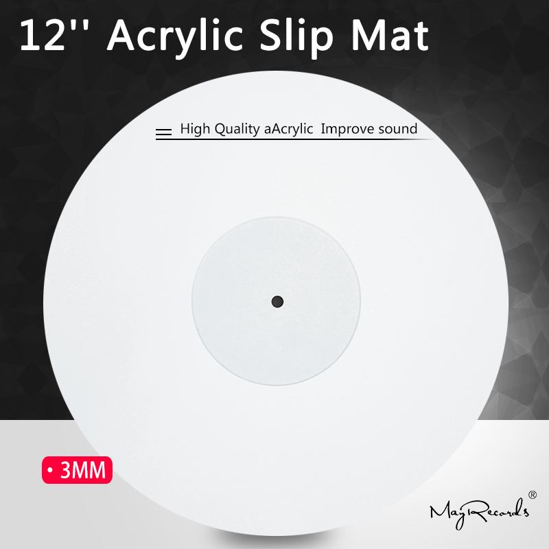 12'' Acrylic Slip Mat for Phonograph Turntable Vinyl 3MM Anti-static LP Mat Improve sound quality