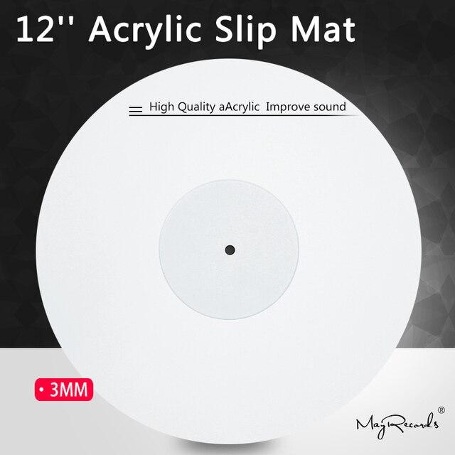 12 אקריליק Mat פטיפון פטיפון ויניל 3MM אנטי סטטי LP מחצלת לשפר את איכות צליל