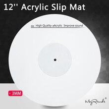 12 acrylique tapis antidérapant pour phonographe platine vinyle 3MM antistatique LP Mat améliorer la qualité sonore