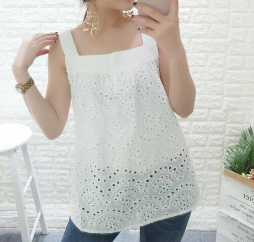Cotton Vintage Guipure Hollow Out Loose Sexy Solid Cami Embroidery Waisted T-shirt 2018 Women Spring Short Tops Casual