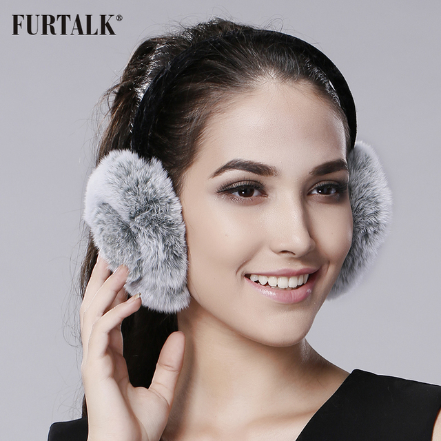 5df85be8cd21b FURTALK Rex Rabbit Fur Winter Women Warm rabbit Fur Earmuffs Girl s Earlap  Ladie s Plush Ear Muff