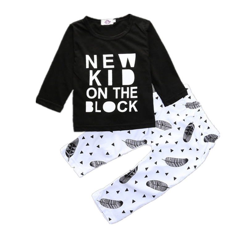 2017 Spring Autumn 2pcs Baby Boys Clothes Letters Printed Cotton Long Sleeve T-shirt and Pants Trousers Set Girl Toddler Costume