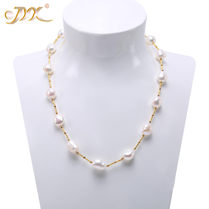 JYX Pearl Necklace Long 925 Sterling Silver Necklace White Baroque Cultured Freshwater Pearl 21-31.5 inches (12-15mm)JYX Pearl Necklace Long 925 Sterling Silver Necklace White Baroque Cultured Freshwater Pearl 21-31.5 inches (12-15mm)