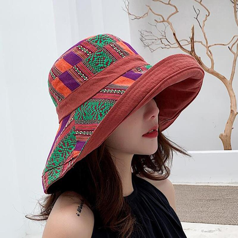 HTB1x81HbErrK1RkSne1q6ArVVXac - Double sided irregular Pattern Bucket Hat Women Summer Cotton Breathable Leisure Bob Caps Outdoor Sports Casual Dome Panama Cap
