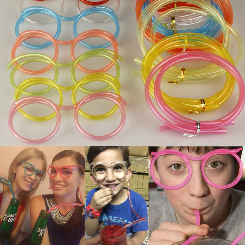 2016 Hot Sale!! 5pcs/lot Funny Soft Plastic Straw Glasses Unique Flexible Drinking Tube Kids Party Bar Accessories Free Shipping