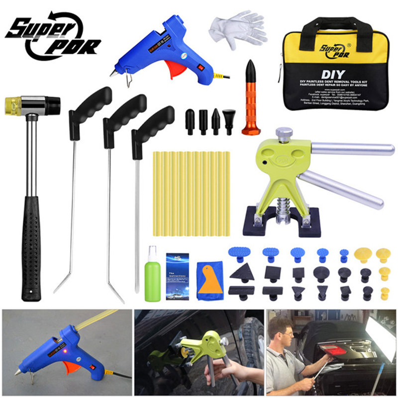 Super PDR Tools Kit For Car Dent Repair Tool Mini Crowbar Pry Bar Rods Hooks Paintless Dent Puller Suction Cup Hot Melt Glue Gun super pdr tools dent removal kit for car dent puller suction cup glue sticks for hot melt glue gun line board pump wedge air bag