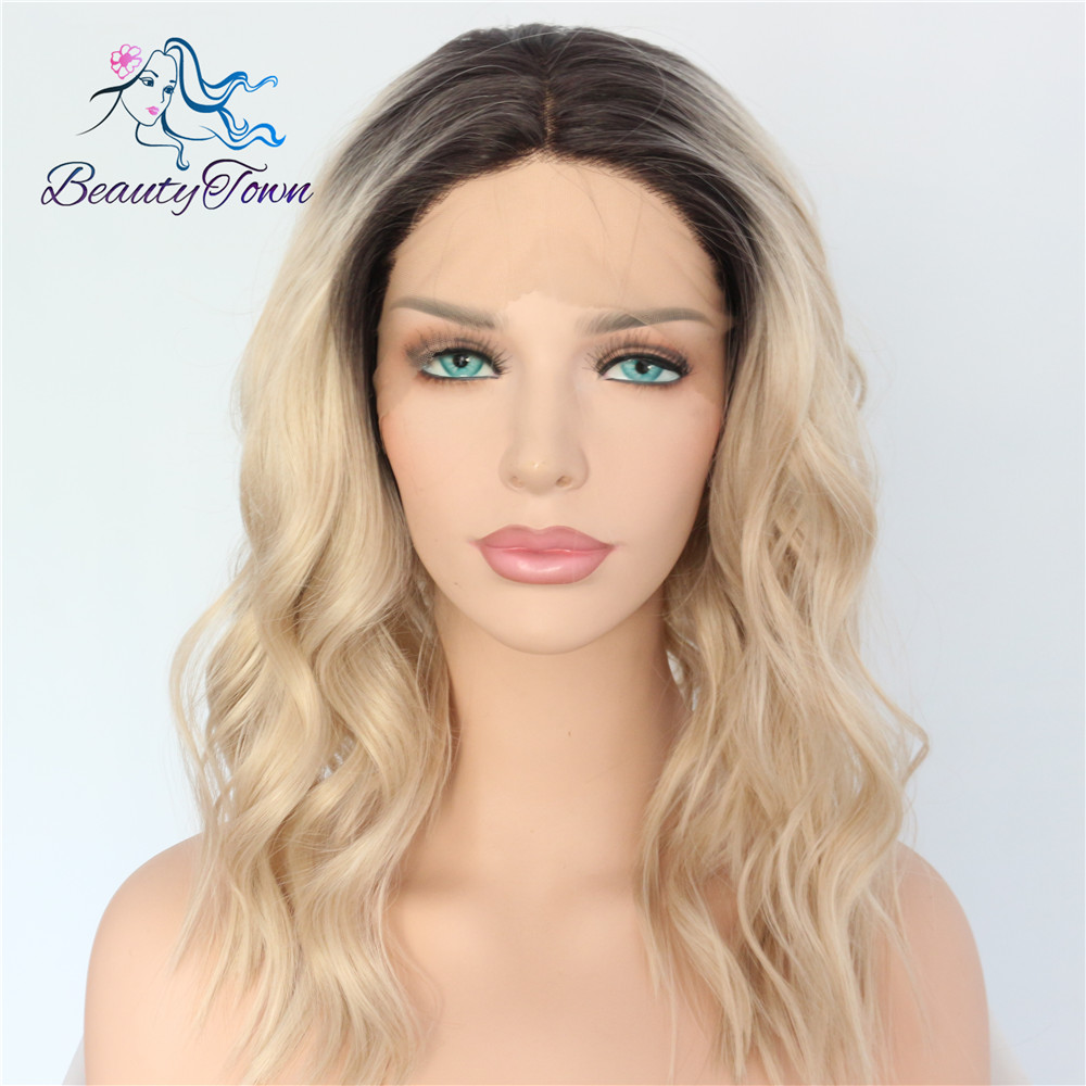 BeautyTown Polaris Short Heat Resistant Hair Black Ombre Blonde Blogger Daily Makeup Synthetic Lace Front Wedding Party Wigs-in Synthetic None-Lace  Wigs from Hair Extensions & Wigs    2