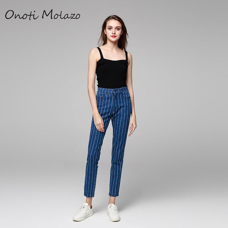 Onoti Molazo 2019 Striped Retro High Waist Jeans Ladies Spri