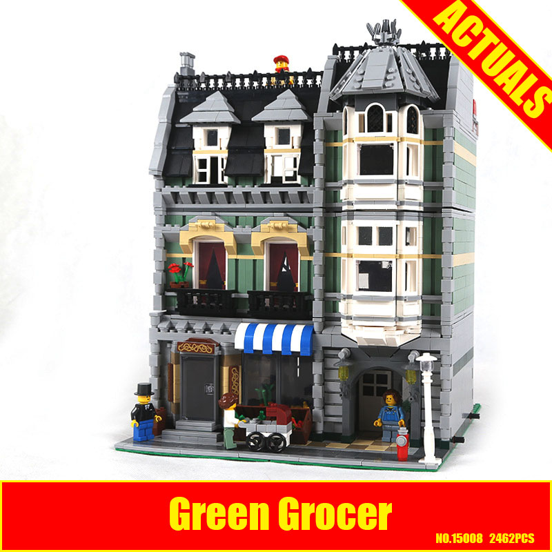 Lepin 15008 2462Pcs City Street Green Grocer Model Building Kits Blocks Bricks Compatible Educational toys 10185 Children Gift lepin 15008 2462pcs city street green grocer legoingly model sets 10185 building nano blocks bricks toys for kids boys