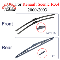 Combo Silicone Rubber Front And Rear Wiper Blades For Renault Scenic RX4 2000 2003 Windscreen Wipers