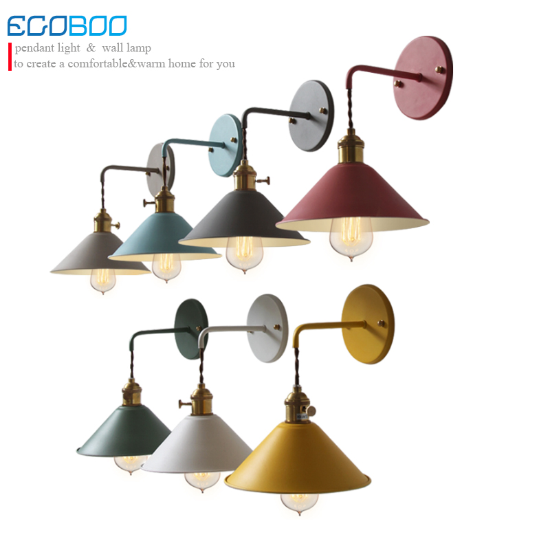 Retro American Loft Industrial Wall Lamps Vintage Bedside Wall Light Metal Lampshade E27 Edison Bulbs 110V/220V wholesale price loft vintage industrial edison wall lamps clear glass lampshade antique copper wall lights 110v 220v for bedroom