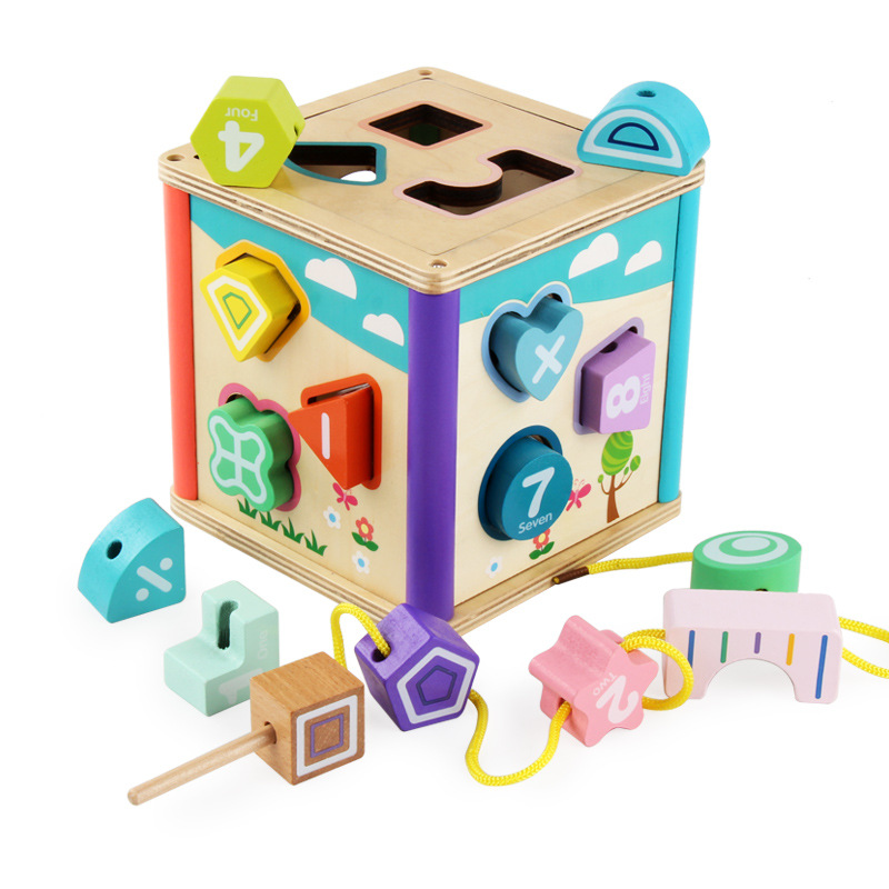 Wooden Montessori Toys 6 Side Multifunction Shape Matching Cognition Building Block Box Early Educational Toys For Children Gift Bright And Translucent In Appearance Model Building Blocks
