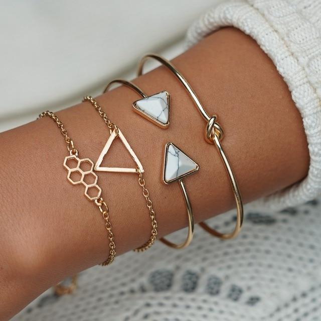 MissCyCy Bohemian Gold Silver Color Triangle Geometric Bracelets For Women Vintage Resin Stone Cuff Bangles Femme Jewelry