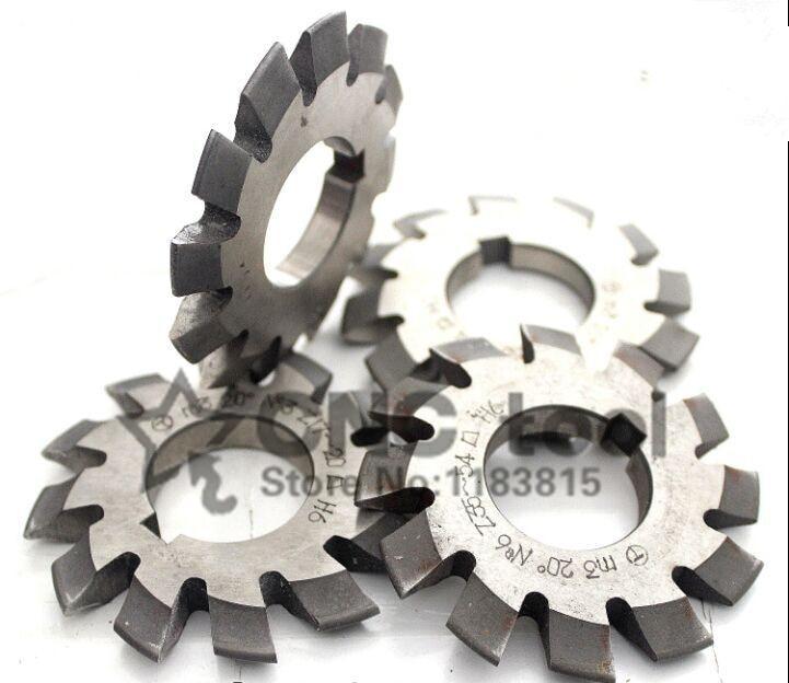 Free Shipping 8PCS M0.4/M0.5/M0.6/M0.7/M0.8/M0.9 Modulus PA20 Degrees NO.1-NO.8 HSS Gear Milling Cutter Gear Cutting Tools