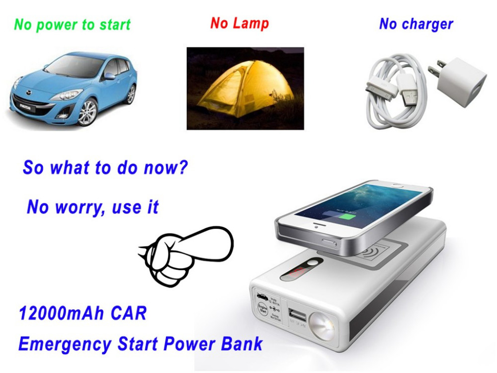 wireless power bank with emergency vehicls activated power