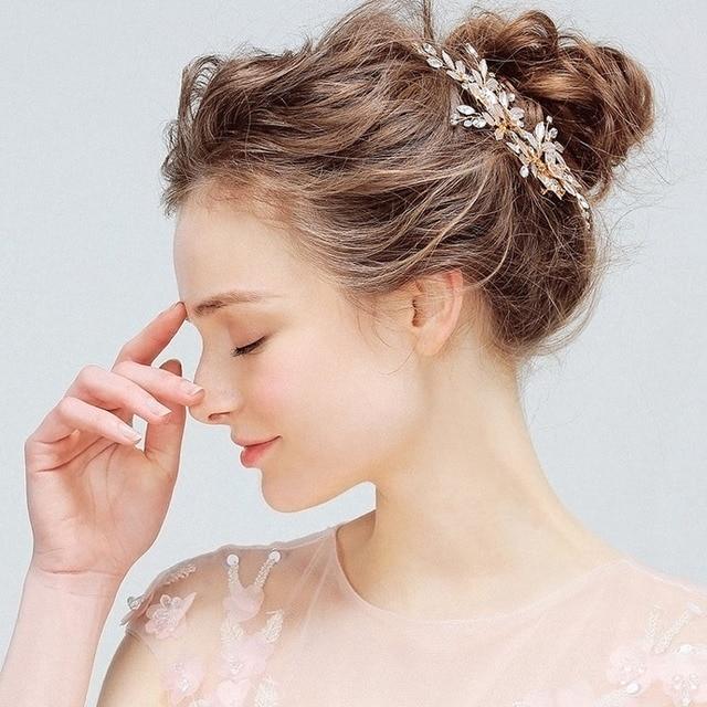 SLBRIDAL Handmade Golden Austrian Crystals Rhinestones Flower Leaf Wedding Hair Clip Barrettes Bridal Headpiece Hair accessories 3