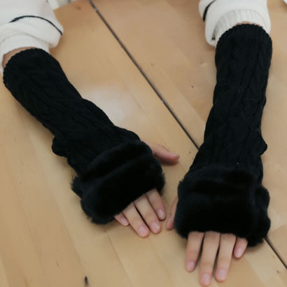 Fashion Winter Women's Gloves Rabbit Wool Fur Wrist Arm Warmer Long Fingerless Knit Mitten