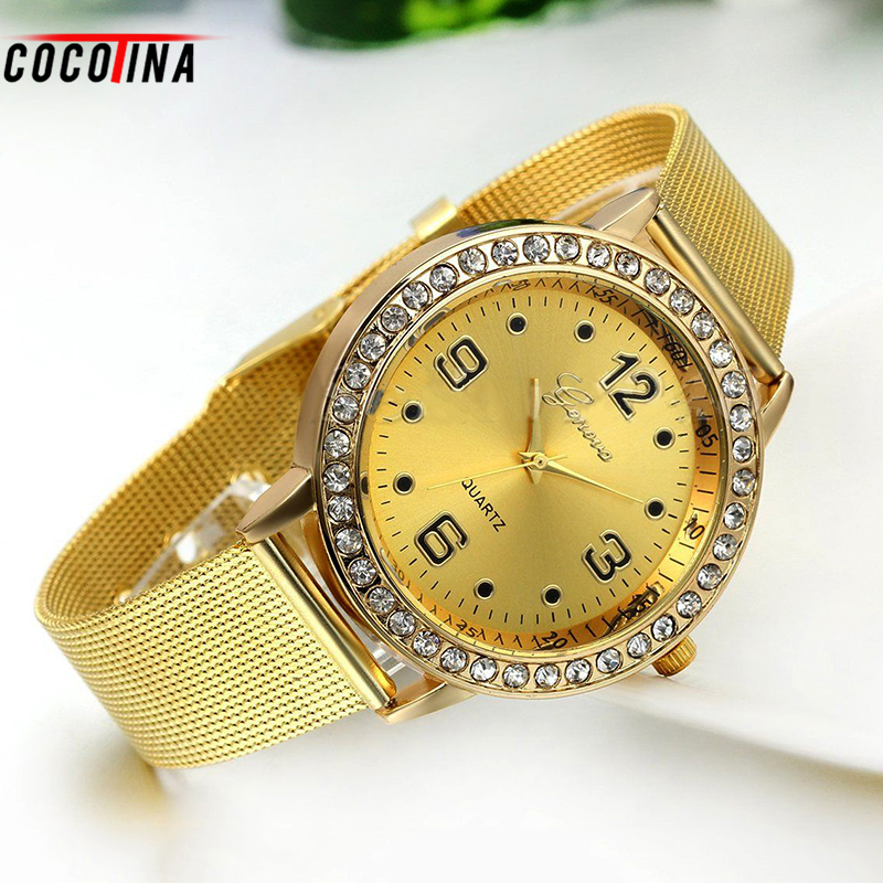 COCOTINA Geneva Gold Mesh Lady Wristwatches Black Dot Scale Diamond Alloy Women Watch Clock Stainless Steel Belt HL0391
