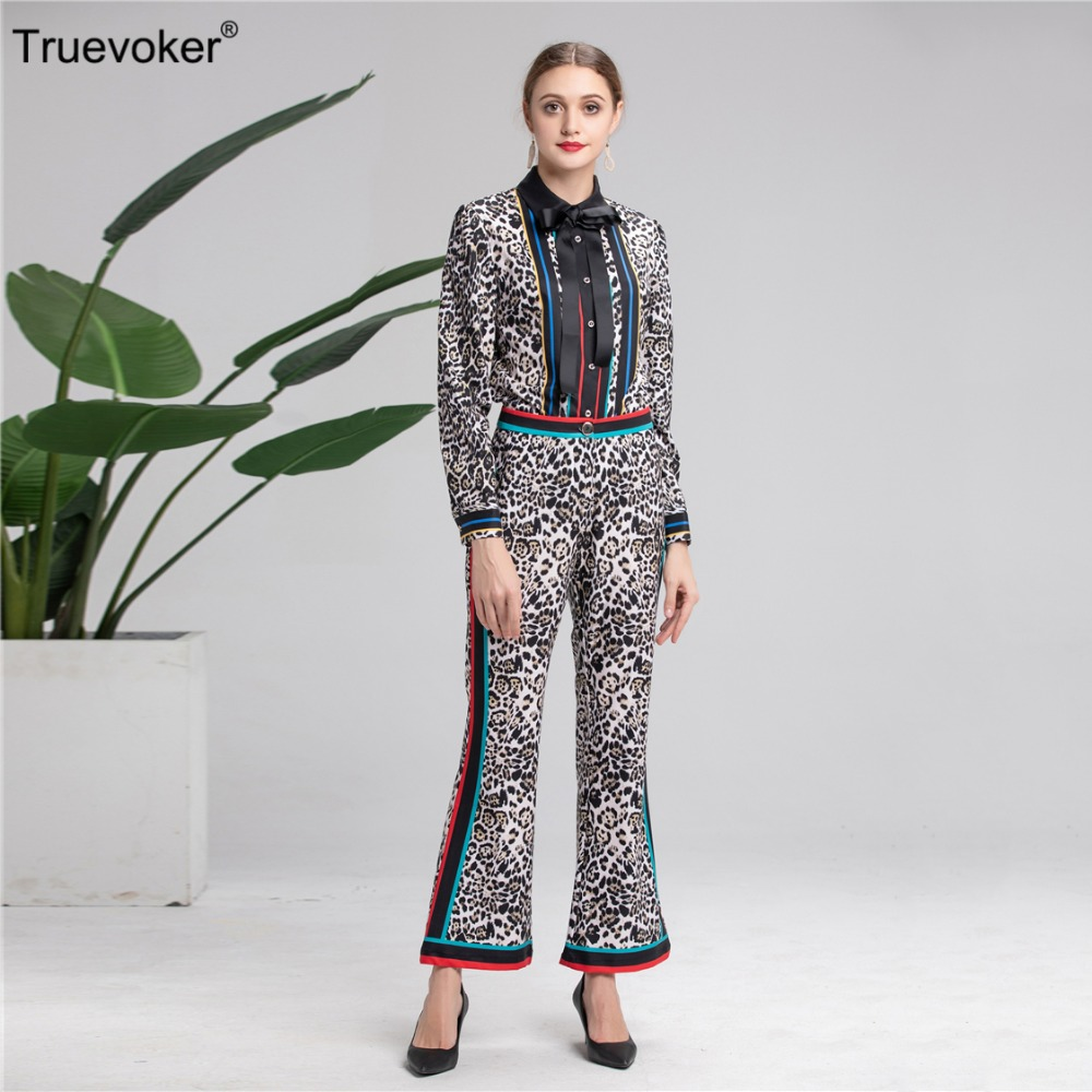 Truevoker Léopard Ensemble Blouses Imprimées Vêtements De Femmes Designer Pièces Qualité Deux Printemps Pantalon Costume Supérieure r6xIvrnHw