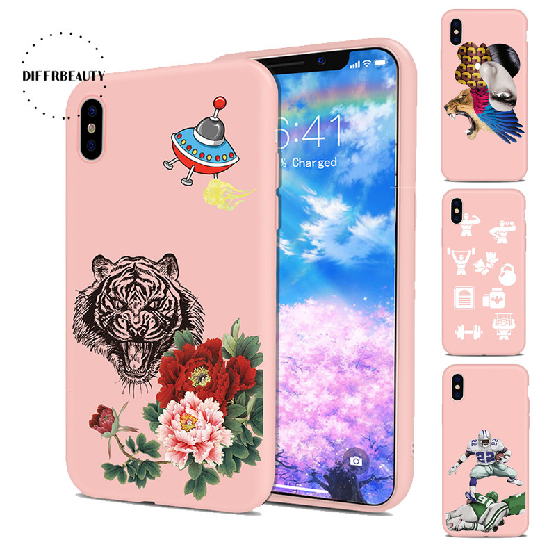 Fashion Sports Equipment Athlete Animal Tiger Silicone Pink Cartoon DIFFRBEAUTY Phone Case For iPhoneX 8 8Plus 6S 7 6Plus 5SE