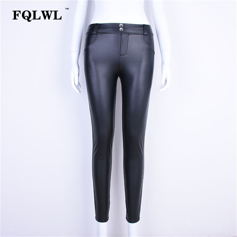 FQLWL Plus Sizes PU Leather Pants Women Elastic Waist Hip Push Up Black Sexy Female Leggings Jegging Casual Skinny Pencil Pants 12