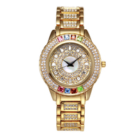 Full Diamond Gold Watches Woman Quartz Watch Ladies Steel Bracelet Waterproof Watch Top Brand Luxury Girl Clock Relogio Feminino
