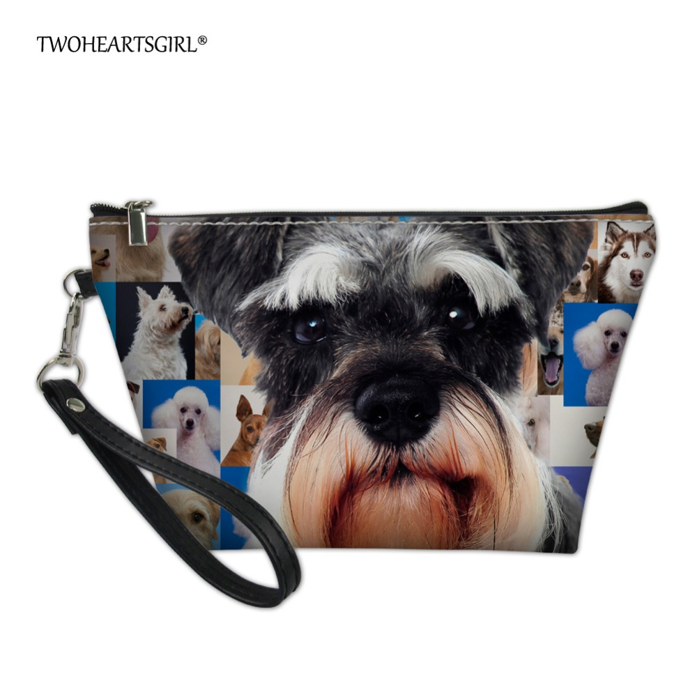 Twoheartsgirl Cute Korean Style Schnauzer Dog Print Makeup Bag Toiletry Bag For Women Small Pu Leather Teen Girls Cosmetic Case