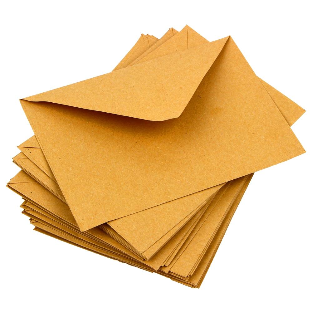 50Pcs/Lot Classical Brown Kraft Blank Mini Paper Window Envelopes Wedding Invitation Envelope Gift Envelope