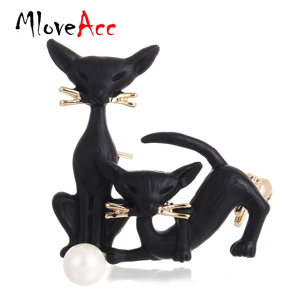 MloveAcc Black Double Cat Brooches Gold Color Pins Simulated Pearl Brooch Suit Scarf Collar Clips Women Men Kids Best Gifts