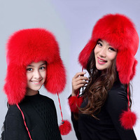 New Winter women Children Russia fur hat Boy Girl Real Fox Fur Hat Parent child Earmuff Warm Fur Hat pompom Ear fox fur Hats cap