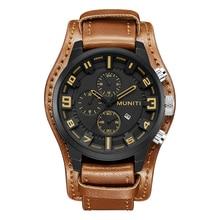 Muniti брендовые коричневые кожаные мужские часы на ремне модные повседневные Кварцевые спортивные часы наручные часы Аналоговые военные Relogio Masculino