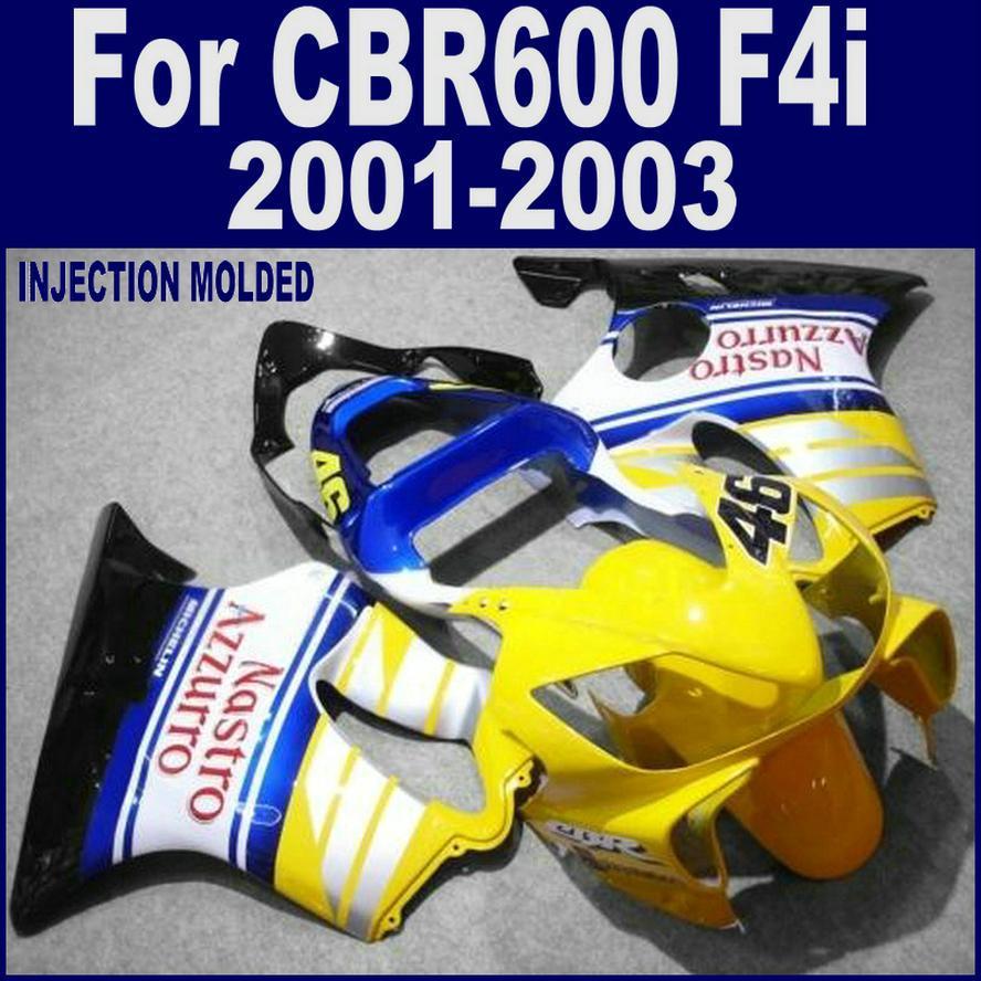 ABS plastic for HONDA CBR 600 F4i blue yellow custom fairing 01 02 03 CBR600 F4i 2001 2002 2003 fairing kits LVDS injection molded fairing kit for honda cbr 600 f4i fairings 2001 2002 2003 blue movistar bodywork set cbr600 01 02 03 td25