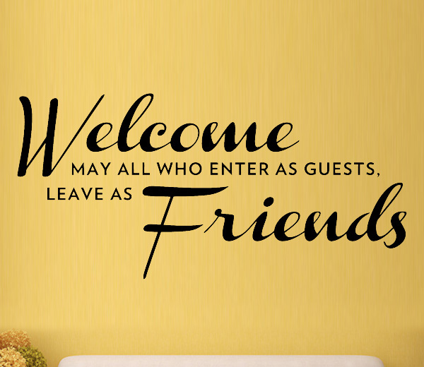 Welcome Friends Love Family Wall Art Stickers Decals Vinyl Home Room ...