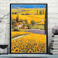 ART DRAW Sunflower Landscape Frameless Picture DIY Oil Painting Paint By Number Canvas Oil Painting Home