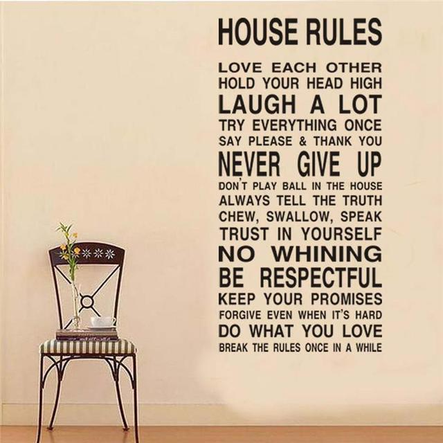 House Rules Inspirational Quote Wall Stickers Home Decoration Living Room  Diy Decals 8010. Vinyl Adesivo