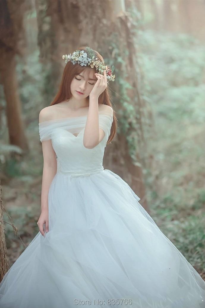2016 Hot Sale vestido de noiva Princess A Line Off the Shoulder Tulle font b Wedding