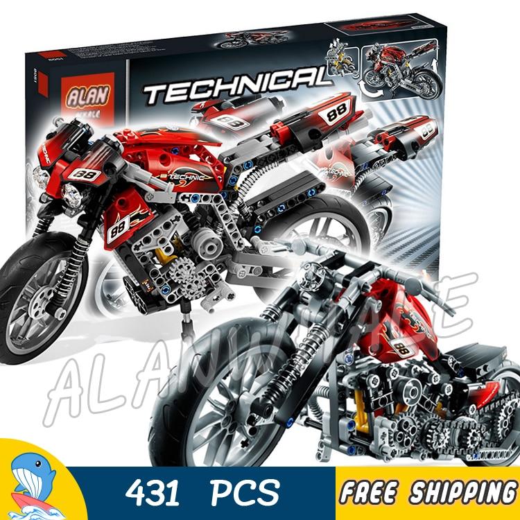 431 Piezas Técnica Motocicleta Calle Motocicleta 3353 Modelo Bloques De Construcción Volante Delantero Juguete Compatible Con Lego Venta Caliente 50-70% De Descuento