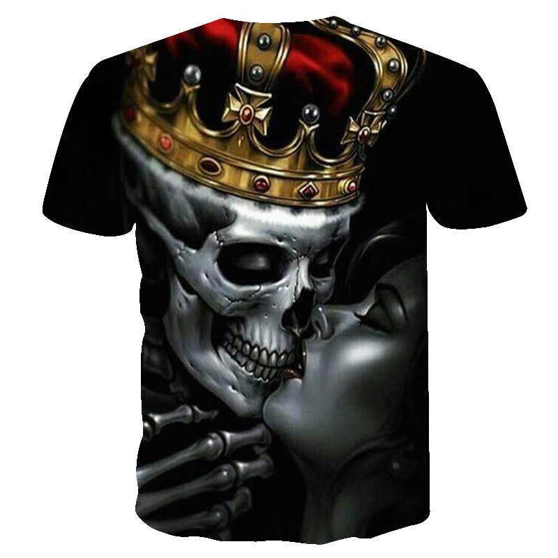 Новинка 2018, новая модная мужская футболка с принтом lovers Crown Skulls, 3D футболка, черные футболки, мужские хип-хоп уличные футболки с круглым вырезом