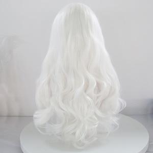 "Image 2 - שמחה & יופי לבן ורוד אדום ארוך פאת תחרה סינתטית עמידות בחום סיבי 26 ""טבעי ארוך גלי פאת עבור לבן נשים"