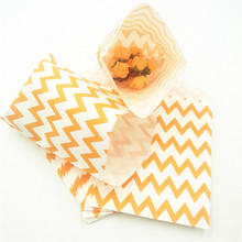 25pcs/set Orange Chevron Popcorn Candy Bags Kraft Paper Treat Favor Gift Goodies Gift Bags For Wedding Decoration Party Supplies goodies
