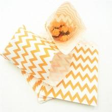 25pcs/set Orange Chevron Popcorn Candy Bags Kraft Paper Treat Favor Gift Goodies For Wedding Decoration Party Supplies