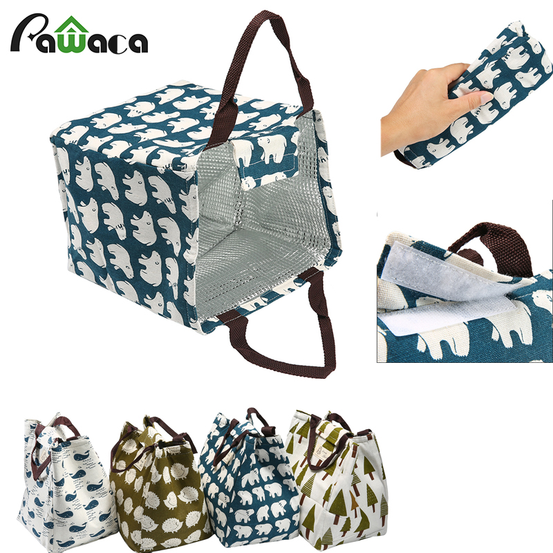 Fashion Portable Insulated Canvas ice bags Thermal Food Picnic storage Bag Cooler Bag Thermal Lunch Bags for Women kids school
